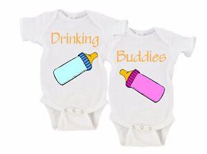 f5a76260c Drinking Buddies Twin Set Onesies Onesie Twins Baby Bottle Baby Boy ...