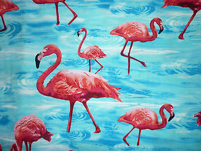 FQ FUNKY BRIGHT FLAMINGO FLAMINGOS FABRIC BIRDS WATER KITSCH