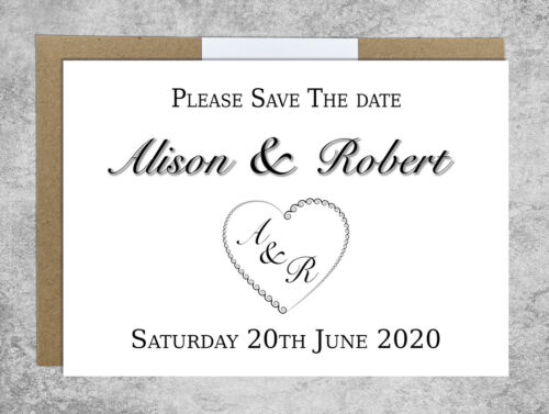 Spiral Heart Hand Made Personalised Wedding Invitations