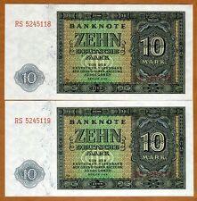 LOT East Germany, DDR, 2 x 10 Mark, Consecutive Pair 1948, Pick 12b, UNC