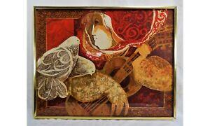 Sunol-Alvar-Lithograph-Print-Signed-Woman-Guitar-Doves-Framed-70-039-s