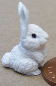 1-12-Scale-White-Polymer-Clay-Rabbit-Tumdee-Dolls-House-Miniature-Accessory-A