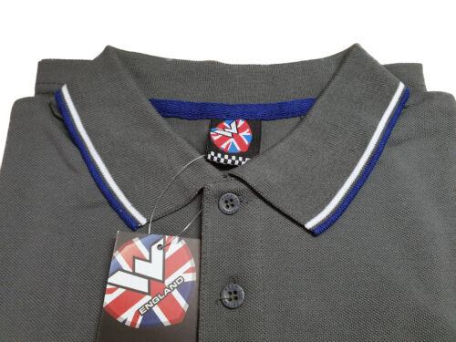 Warrior UK Angleterre bouffigue Polo Chemise GREY SLIM-FIT skinhead mod Punk Chemise Gris