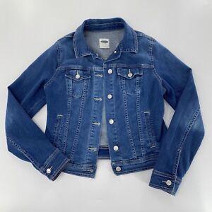 Old-Navy-Sz-M-Womens-Trucker-Jean-Jacket-Button-Front-Denim-Front-Pockets-EUC