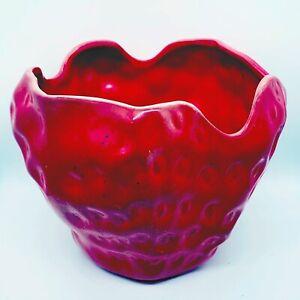 Vintage-RARE-1953-MCCOY-Pottery-Red-Strawberry-Jar-Planter-1655-9-5-W-7-H