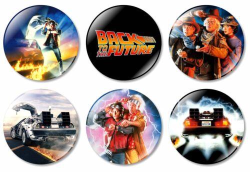 6 x Back to the Future 32mm BUTTON PIN BADGES 2 3 Delorean Michael J Fox Movie