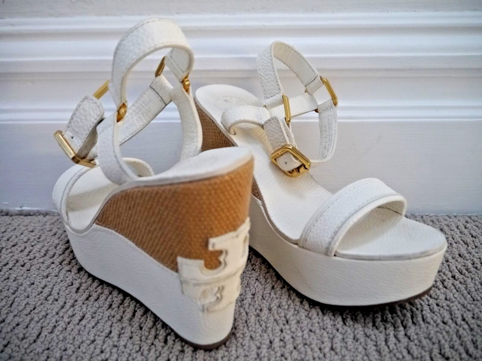 TORY BURCH $325 Carlee ivory leather logo detail wedge sandals 7.5 WORN ONCE