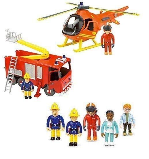 Fireman Sam Large Vehicle & Figures Playset Bundle Helicopter 5 Figures & Engine