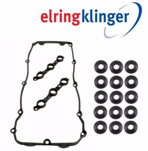 OEM Engine Valve Cover Gasket Set w// 15 Elring Nut Seals Washers Set Kit For BMW