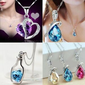 Women-039-s-Fashion-Silver-Chain-Crystal-Rhinestone-Pendant-Necklace-Jewelry-Gift