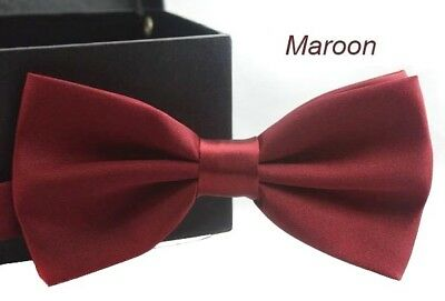 Tuxedo PreTied Burgundy Red Bow Tie Satin Matching Adjustable Band  US SELLER