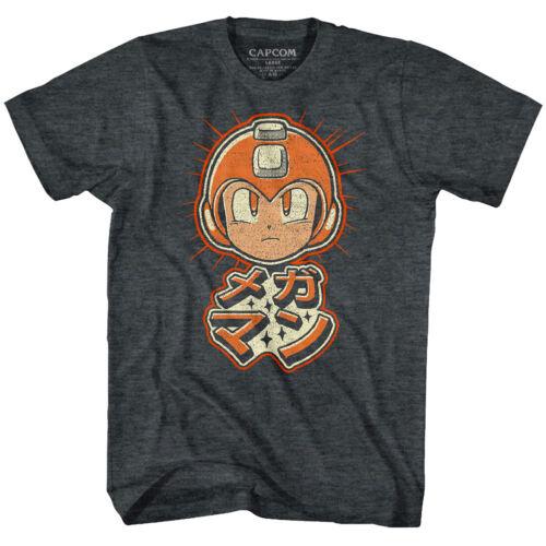 Megaman Rokkuman Japanese Symbols Men/'s T Shirt Retro Head Vintage Gamer Tee Top