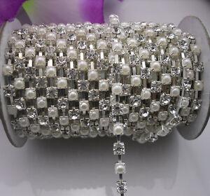 SS18 Diamante Trimming White Pearl Crystal glass Rhinestone Silver/Golden Chain