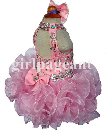 15 color stunning Infant//toddler//baby//girl beading Pageant Dress G284-3