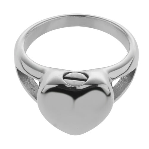 Tiny Heart Cremation Memorial Ring Women`s Keepsake Ashes Urn Jewelry