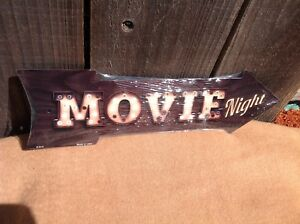"Movie Night This Way To Arrow Sign Directional Novelty Metal 17"" x 5"""