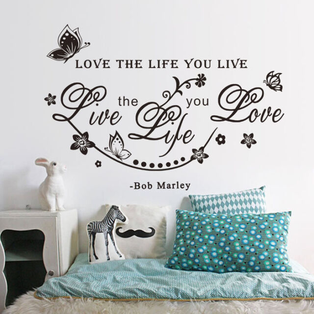 Butterfly Vine Flower Good Proverb Bob Marley Quote Art Wall Sticker Decal Decor
