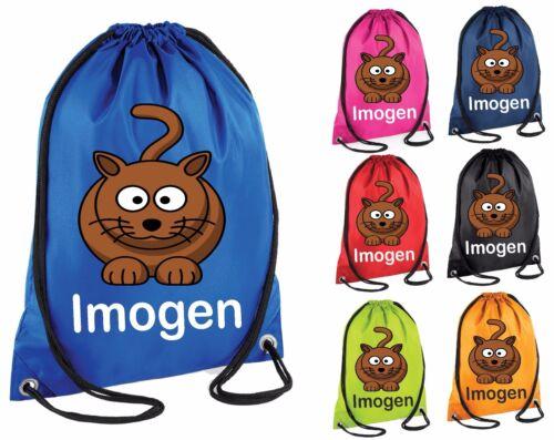 Personalised Cat Gym Bag Swim Nursery Drawstring School PE Kit Sports Kids