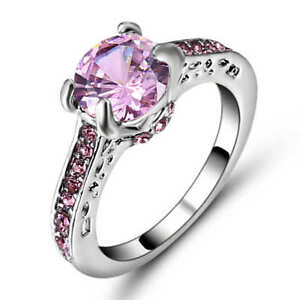Size 9 Womens Pink Sapphire Crystal Wedding Ring 18K White Gold