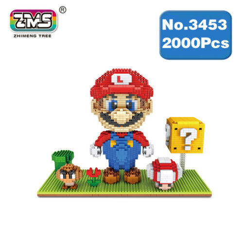 ZMS Game Super Mario Goomba Coin Flower Diamond Mini Building Nano Blocks Toy
