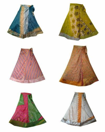 Vintage Silk Long Sari Recycled Magic Wrap Around Skirts Wholesale Lot