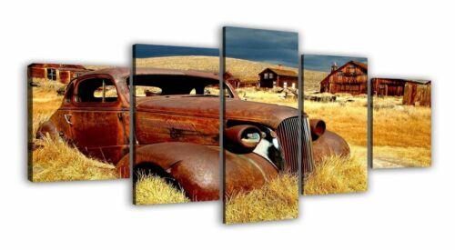 Quadri moderni su tela cm 70 x 150   auto vecchia arrugginita