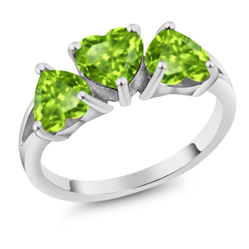 2.49 CT Coeur Forme Vert péridot Argent Sterling 925 3-Stone Ring