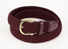 New BRIONI Burgundy Red Fabric W/ Leather Gold Buckle Belt 40 US 100 EU $425