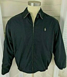 Polo-Ralph-Lauren-Harrington-Zip-Jacket-Coat-Plaid-Lining-Black-Mens-Size-L