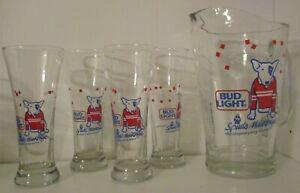 NEW Vintage set Anheuser Busch Bud Light Spuds MacKenzie pitcher 4 beer glasses