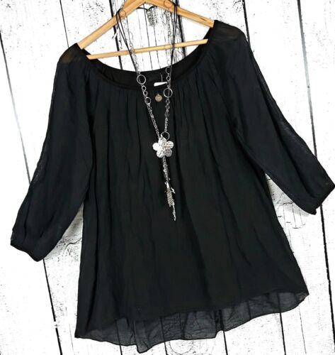 40 42 Bluse Tunika schwarz doppellagig aus Baumwolle luftige leichte Bluse Gr