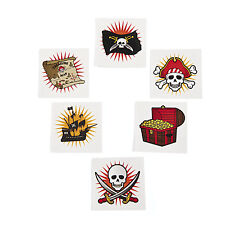 36 PIRATE skull treasure chest map flag temporary tattoos halloween Party Favor