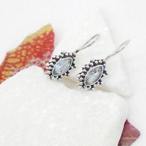 Blautopas-blau-Nostalgie-Design-Ohrringe-Ohrhaenger-Haken-925-Sterling-Silber-neu