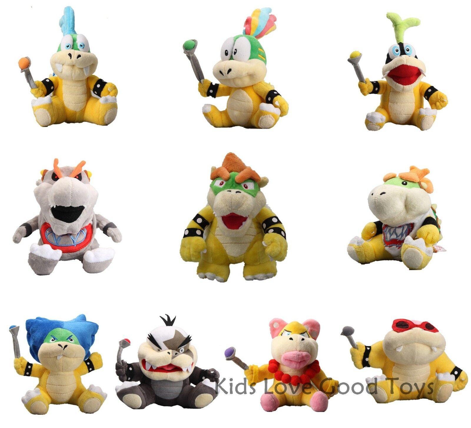 10X Super Mario Plush King Bowser och ungar Koopalings Koopa Larry Lemmy Ludwig ETC