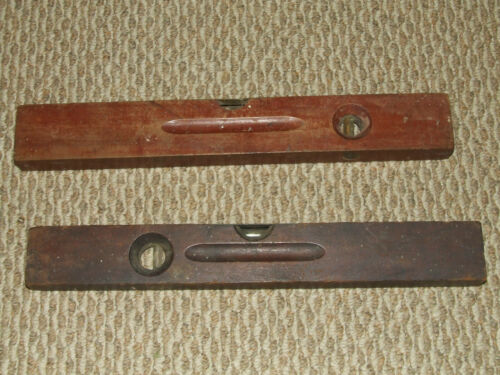 "Antique Pair of 19th C. 18"" Cherry Wood Levels Stanley and Solar Mfg. Co. USA"