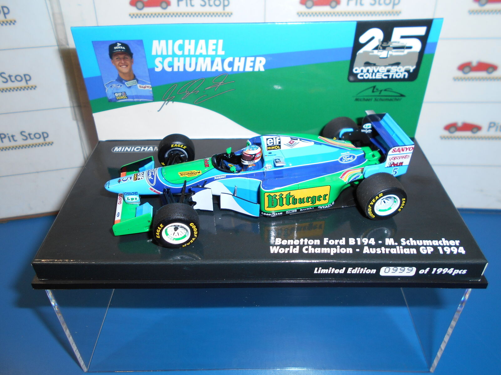 MIN517941605 BENETTON FORD B194 #5 M.SCHUMACHER WC. AUSTRALIAN GP 1994 1:43