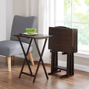 Mainstays Walnut 5 Piece Folding Tv Tray Table Set 27 Quot H X