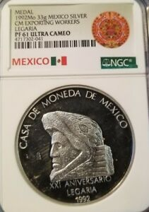 1992-MEXICO-33G-SILVER-CM-EXPORTING-WORKERS-LEGARIA-NGC-PF-61-ULTRA-CAMEO-POP-1