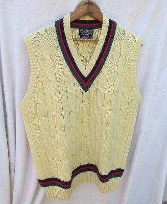 Vintage Brooks Brothers all wool Pull Over Cable Knit Sweater Vest Mens L
