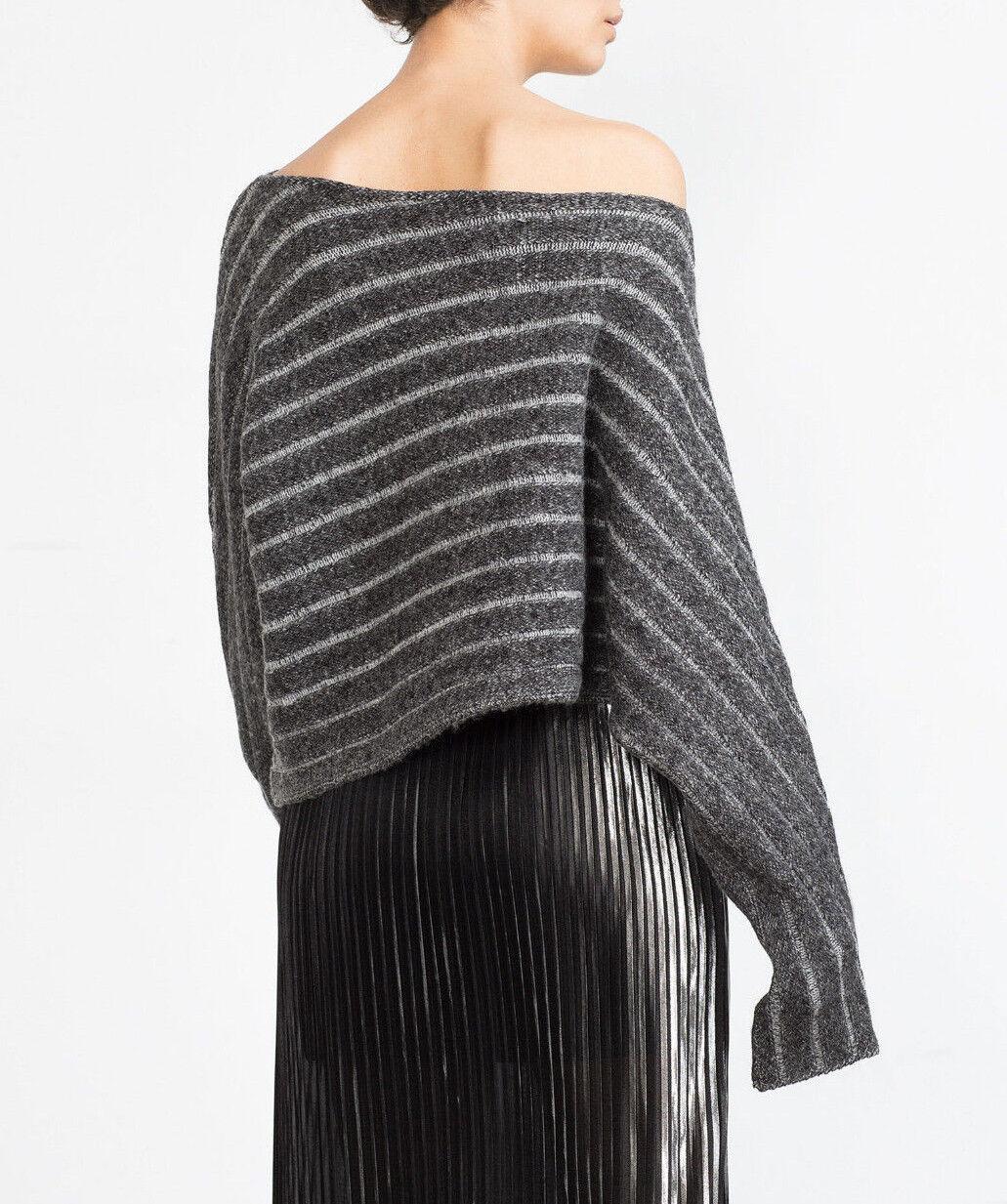 Zara assymetrischer Pullover Poncho Fancy Knit Asymmetric HEM SWEATER Dimensione S M