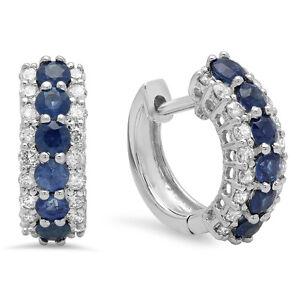 deb3acfeaab 1.40 CT 10K White Gold Round White Diamond   Blue Sapphire Huggies ...