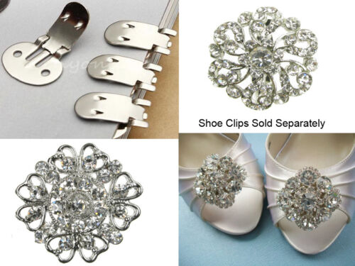 Gran Plata Diamante Broche Vintage Pin Bridal Bouquet Zapato Cake-Nuevo-Uk