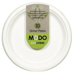 Modo Eco Living Sugarcane Pulp Disposable Dinner Plates 10 pack
