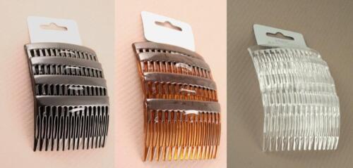 Pack de 4 plaine cheveux peignes de diapositives côté peignes 7cm Noir délit ou clair