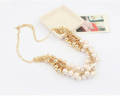Vintage Gold Tone Chain Faux Fresh Water Pearls Multi Strand Necklace