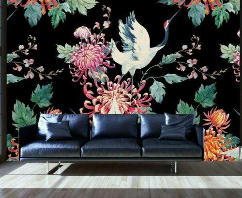 Nappes Papier peint Oiseaux Feuilles Plantes Coloré Fleurs Papier Peint Mural Salon