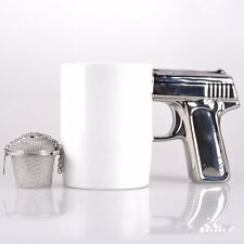 Novelty Gun Handle Mug Coffee Tea Cup With Tea Infuser, Gift for lover or friend