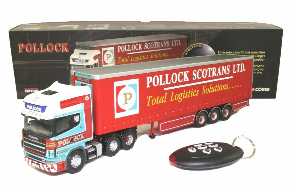 Corgi CC12931 1 50 Scania Topline Curtainside Remolque, Pollocks