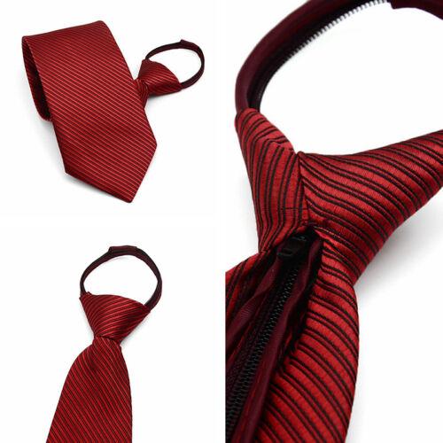 New 1PC Men Business Casual Lazy Tie Diagonal Stripes Zip Neck Tie Creative Gift