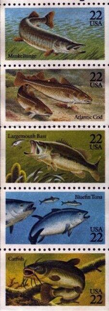 1986 22c Bass, Cod, Tuna, Catfish, Pane of 5 Scott 2205